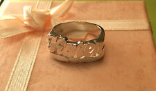 NAME RING PERSONALIZED STERLING SILVER ANY NAME USA  HAND MADE*ROUND*HEART FACE*