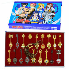 Fairy Tail 18pcs Lucy Celestial Zodiac Spirit Gate Keys Cosplay Keychain Boxed