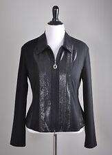 JOSEPH RIBKOFF $149 Zip Front Snake Print Sheen Panels Jacket Top Size 16
