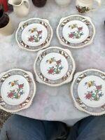"Johnson Bros Old English VIGO Salad Dessert Plate Set of 5 Florals  ~ 8"""