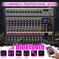 12 Kanal Live Audio bluetooth Mischkonsole Audio Mixer Mischpult Mischer Kit Neu