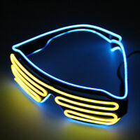 Flashing LED Light Up Slotted Shutter Shades Sunglasses Glow Party Glasses RX