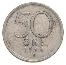 SILVER Roughly the Size of a Nickel 1946 Sweden 50 Ore World Silver Coin *676