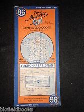Vintage french MICHELIN carte de LUCHON/PERPIGNAN (feuille 86/carte France) c1935
