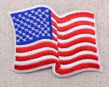 Waving American Flag White Border USA/Biker Iron on Applique/Embroidered Patch