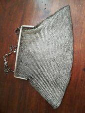 Borsa borsetta ballo fine 800 Portamonete epoca argento chainmail purse bag ring