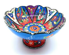 Handmade Turkish Traditional Ceramic Pottery Footed Candy Dish or Server (A)