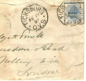 South Africa ORANGE FREE STATE SG.77 ERROR Cover MISPLACED SURCHARGE 1897 MA687