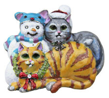 KIRKS FOLLY KITTY CAT IMPOSTER SNOWMAN PIN / PENDANT  silvertone