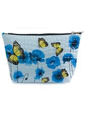 Tamboril Blue Poppy Flower Cosmetic Bag