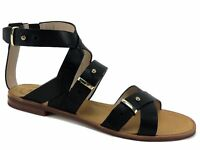 French Connection Women's Harmoney Sandals Black Leather Size US 7.5/EU 38