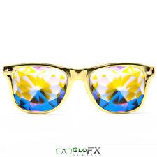 Metallic Gold LE Kaleidoscope Glasses Rave EDM Prism Rainbow Diffraction 3D trip