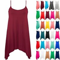 Plus Size Ladies Womens Camisole Strappy Flared Sleeveless Swing Dress Vest Top