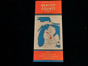 Vintage 1982 Official Gratiot County Michigan Road Map MI  Nice Condition