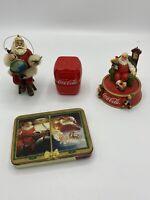 Coca Cola Mixed Lot. Tin w/Playing Card, 2 Santas and Salt & Pepper Shaker