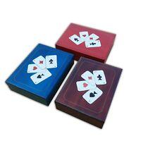 Madera Doble Juego Cartas Caja, Set De 3 , En Diferentes Colores