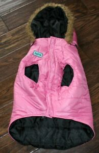 PINK  puffy warm  size Medium  Puppy  DOG   COAT  Old Navy Co.  hood  EXCELLENT!