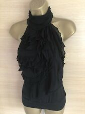 Exquisite Karen Millen Black Silk Ruffle Front Blouse Top Uk16 Stunning