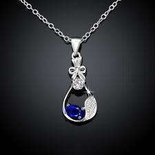 925 Sterling Sliver Filled Oval Blue CZ Crystal Leaf Tear Drop Bride Necklace