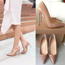 OBOR Womens Sexy 12cm High Heels Pointy Toe Stilettos Slip On Party Pumps 5-14US