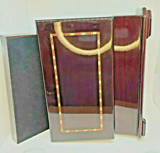 Lacquered Mahogany Jewelry Box On Base Wood Inlay Hinged Velvet Lined Mirror