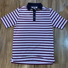 FootJoy Mens Athletic Fit Polo Shirt White Blue Striped Golf Wear Activewear M