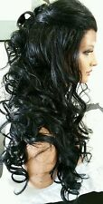 Beautiful Black Lace Front Wig Long Curly Heat Safe