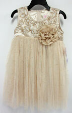 """NWT Popatu Girl's Tutu Special Occasion Dress w/ Sequins """"Gold"""" Size 4/4T"""
