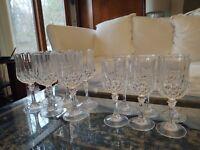 Set of 6 Water & 6 Wine Glasses Crystal d'Arques Crystal Longchamp Stemware