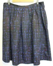 BOOKER SPALDING ~ NZ Black Magenta Cobalt Geometric Box Pleat Full Skirt 20