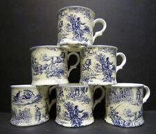 Set Of 6 Romance Blue Small English Fine Bone China Mugs Cups By Milton China