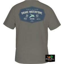 NEW DRAKE WATERFOWL SINCE 2002 LOGO S/S GRAPHIC T-SHIRT TEE GRAY LARGE