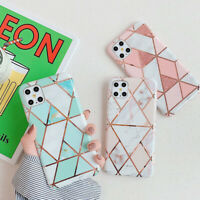 Phone Case For iPhone 12 Pro Max 12 Mini 11 XS XR 8 Geometry Marble Rubber Cover