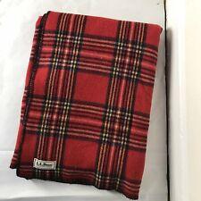"New listing Vintage Ll Bean Blanket Classic Red ~ Blue Tartan Plaid Wool 66"" x 88"" Rare!"