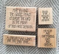 Lot of 4 Stampin' Up 1997 Primitive Christmas Christian Text Phrase Stamps EUC
