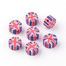 50 FIMO POLYMER CLAY UNION FLAG JACK BEADS - 10MM - SAME DAY FAST FREE SHIPPING