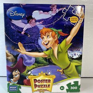 Walt Disney's Peter Pan Póster Puzzle 300 Pieces Sealed Mega Puzzles