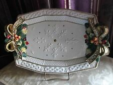 "FITZ & FLOYD  CHRISTMAS SNOWY WOODS 15 1/2"" PLATTER  Discountinued  never used"