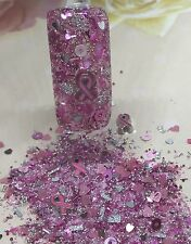 glitter mix acrylic gel Nail Art  Cancer AWARENESS