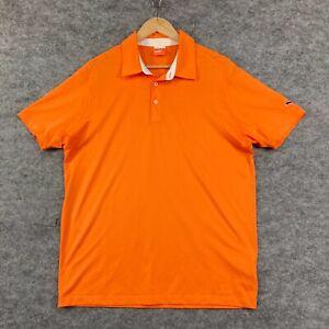 Puma Mens Polo Shirt Size M Medium Orange Short Sleeve Golf Collared 186.04