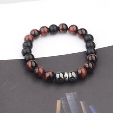 "8""L Stainless Steel 10mm Tigers Eye+Hematite+Onyx Gemstone Beaded Men's Bracelet"