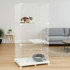 """NEW Cat Kitten Pet Cage Large 3 Tier 70"""" Tall Play Pen Wire Sturdy Tower Casters"""