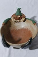 Elf Relaxing in Bowl Artist Signed Figural Studio Art Candy Dish