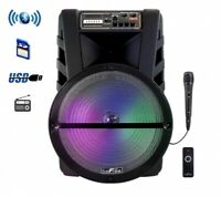 beFree Sound 15 Inch Bluetooth Portable Rechargeable Party Speaker with LED Lig