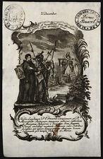 santino incisione 1700 SS.EDMONDO CAMPION E ALESSANDRO BRIANT A PECHIN.  klauber