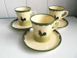 Hahn und Henne Zeller Keramik  3 Tassen + Untertassen