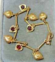 Vintage 'Lisa' Heart Dangle Charm Red Rhinestone Pearls Gold Tone Bracelet 5c 30
