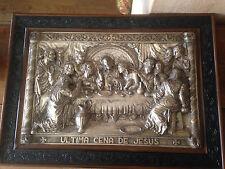 tableau ULTIMA CENA DE JESUS de M.REGISTRADO en 3D début XXème metal repousse