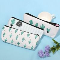 Students Organizer Canvas Cosmetic Bag Green Cactus Pencil Case Bag Stationery
