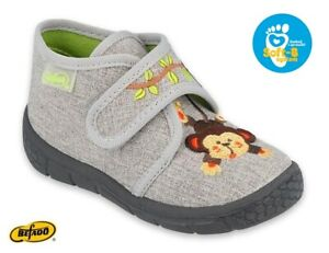 BABY KIDS BEFADO boys slippers canvas shoes nursery ankle trainers